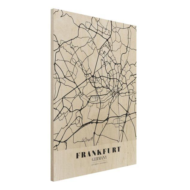 Quadro in legno - Frankfurt City City Map - Classical- Verticale 3:4