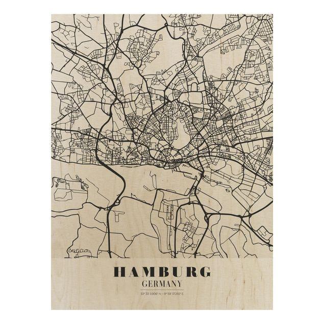 Quadro in legno - Hamburg City Map - Classic- Verticale 3:4