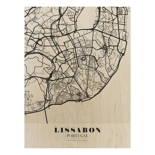 Quadro in legno - Lisbon City Map - Classic- Verticale 3:4