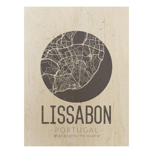 Quadro in legno - Lisbon City Map - Retro- Verticale 3:4