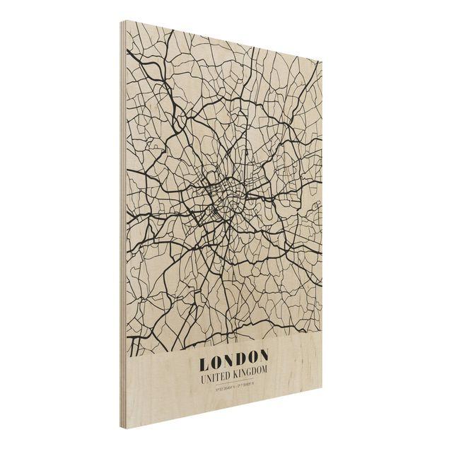 Quadro in legno - London City Map - Classic- Verticale 3:4