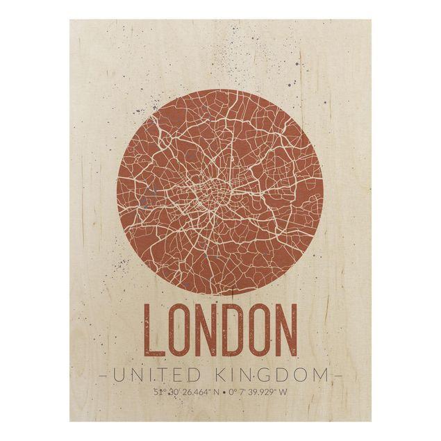 Quadro in legno - London City Map - Retro- Verticale 3:4
