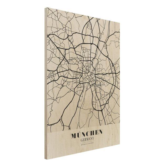 Quadro in legno - Munich City Map - Classic- Verticale 3:4