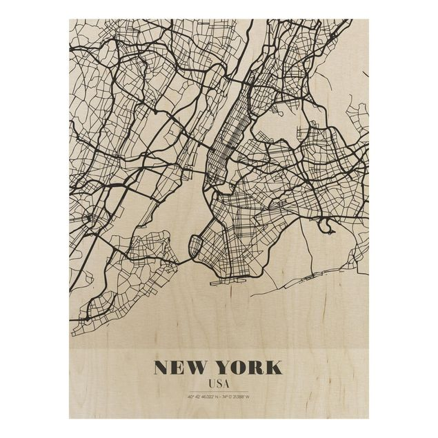 Quadro in legno - New York City Map - Classic- Verticale 3:4