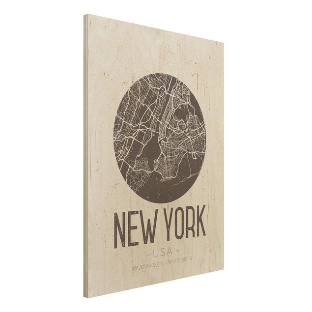 Quadro in legno - New York City Map - Retro- Verticale 3:4