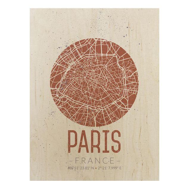 Quadro in legno - Paris City Map - Retro- Verticale 3:4