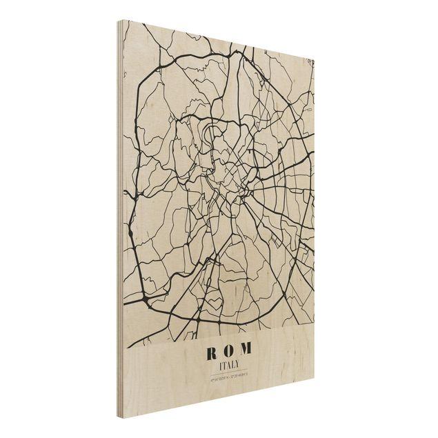Quadro in legno - Rome City Map - Classical- Verticale 3:4