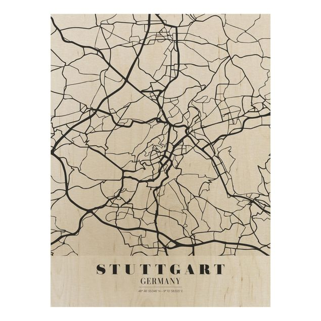 Quadro in legno - Stuttgart City Map - Classic- Verticale 3:4