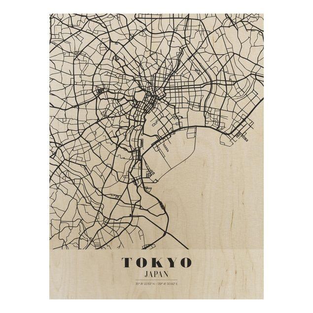 Quadro in legno - Tokyo City Map - Classic- Verticale 3:4