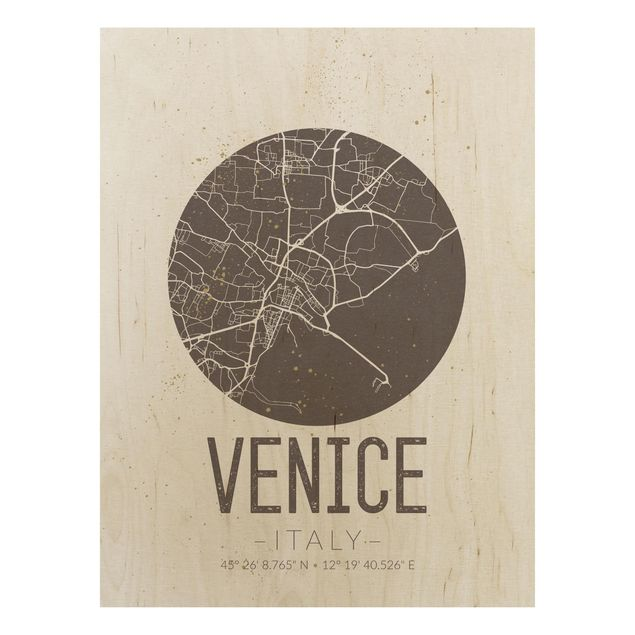 Quadro in legno - Venice City Map - Retro- Verticale 3:4