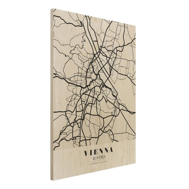 Quadro in legno - Vienna City Map - Classic- Verticale 3:4