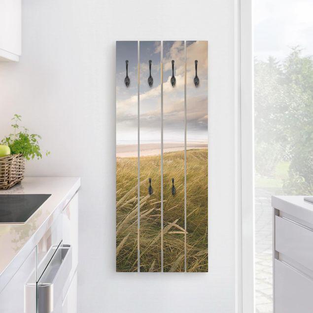 40x100 cm Bilderwelten Appendiabiti in Legno Sabbia del Mare Ganci Neri Orizzontale