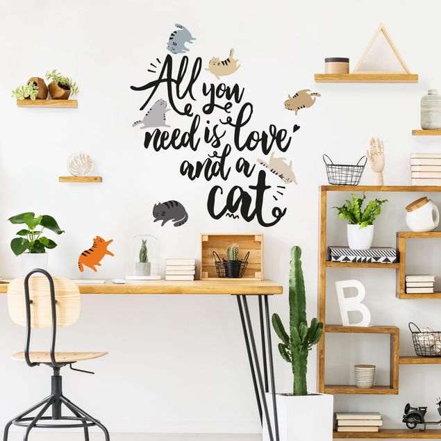Adesivi murali frasi - All You Need Is Love And A Cat - Scritte per pareti