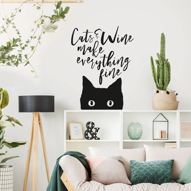 Adesivo murale - Cats And Wine Make Everything Fine