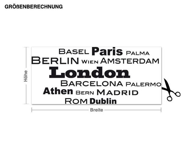Adesivo murale - città europee