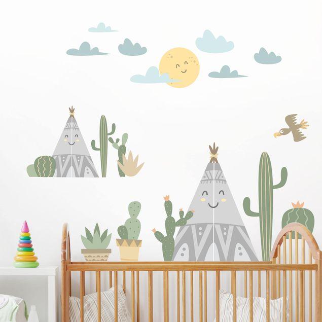 Adesivi murali bambini - Cactus e tende indiane - Stickers camerette