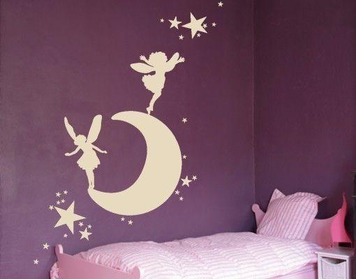 Adesivo murale - Luna con elfi