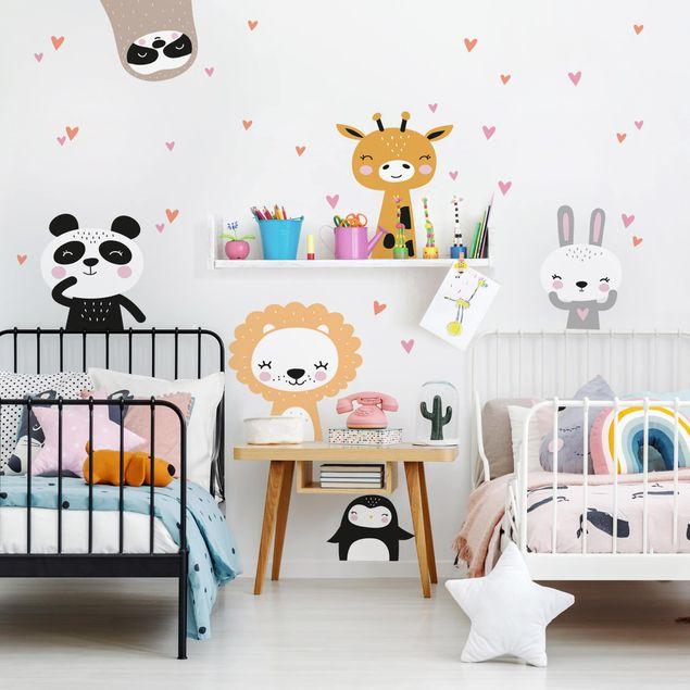 Adesivo murale bambini - Set animaletti safari - Stickers camerette