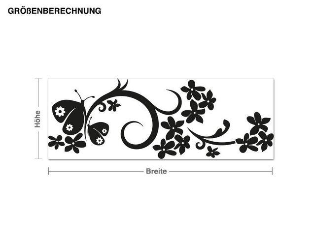 Adesivo murale - fiore farfalla