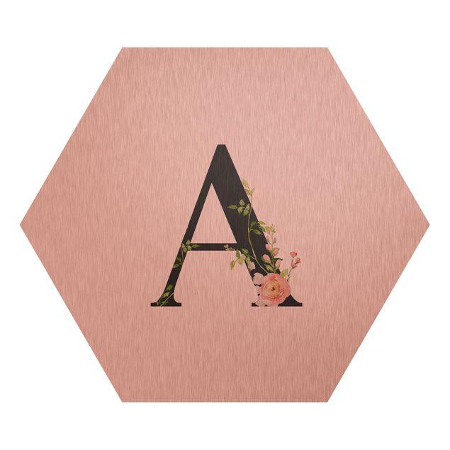 Esagono in Alu-dibond - Lettera desiderata fiori acquerello