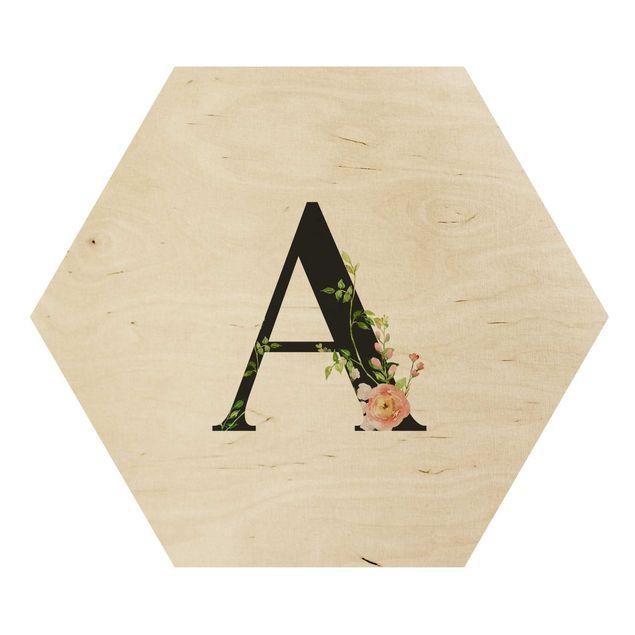 Esagono in legno - Lettera desiderata fiori acquerello