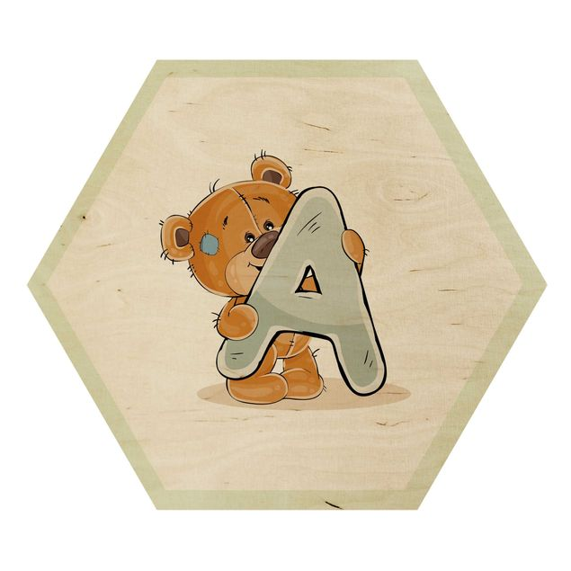 Esagono in legno - Lettera desiderata Teddy Ragazzo